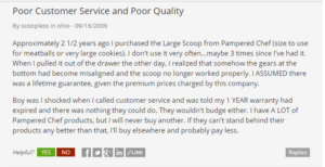 pampered chef complaints